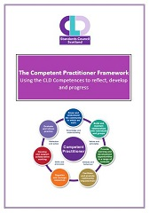 Cover of teh COmpetent Practitioner booklet showing logo title and competence wheel