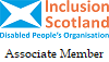Inclusion Scotland Disabled people's Organisation logo Affiliate Member
